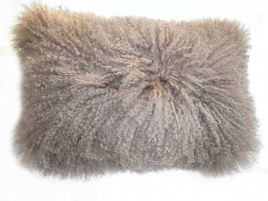 """Rectangle Lamb Fur Pillow in Natural-20"""" L X 12"""" W-Polyester Fill - Domino"""