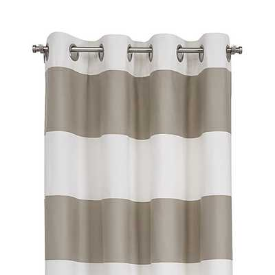 """Alston 50""""x96"""" Ivory/Khaki Striped Curtain Panel - Crate and Barrel"""
