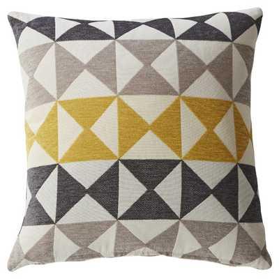Modern Diamond Feather Filled Throw Pillow - Yellow/Gray - 16x16 -Waterfowl feather fill insert - AllModern
