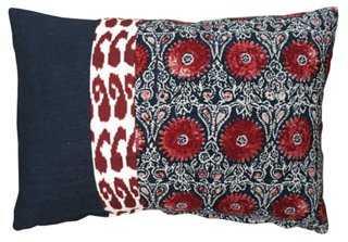 Riya 14x20 Pillow, Navy/Red - One Kings Lane
