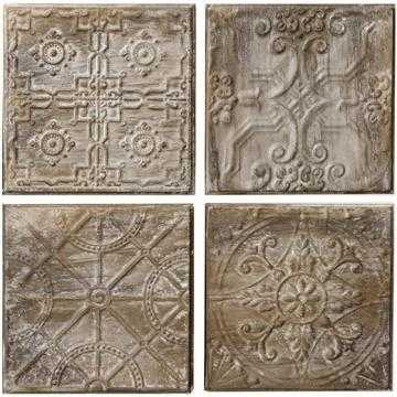 ANTIQUED TIN TILES WALL ART - SET OF 4 - Home Decorators