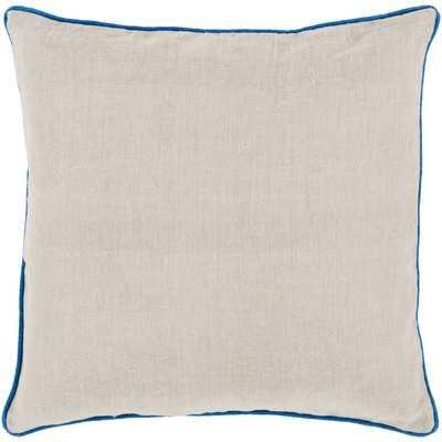 """Franklin Bordered Linen Throw Pillow-18""""x18""""-Blue-Polyester Insert - Wayfair"""