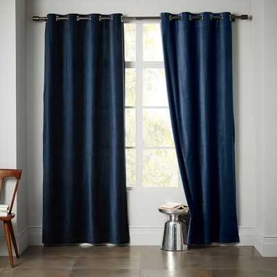Velvet Grommet Curtain- Regal Blue - West Elm