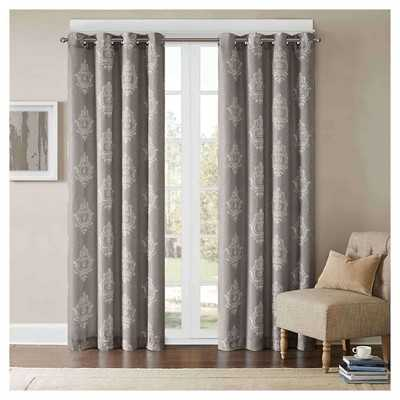 "Oakmore Texture Damask Printed Curtain Panel - Grey; 50"" x 84"" - Target"