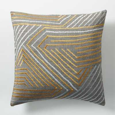 "Embroidered Maze Pillow Cover - Horseradish-18""sq.-no insert - West Elm"