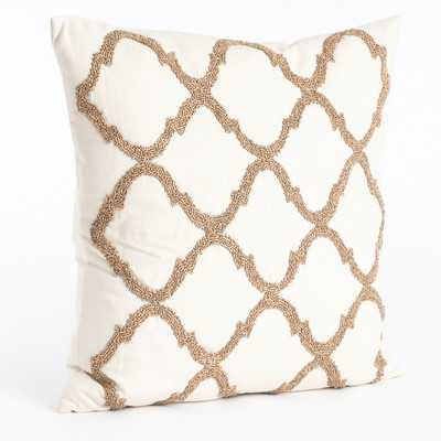 Moroccan Beaded Cotton Throw Pillow - Champagne, 18x18, With Insert - Wayfair