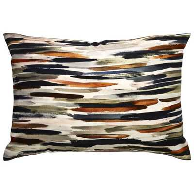 Tribal Pattern Ivory/Orange Cotton Throw Pillow (14 x 20-inch) - fill - Overstock