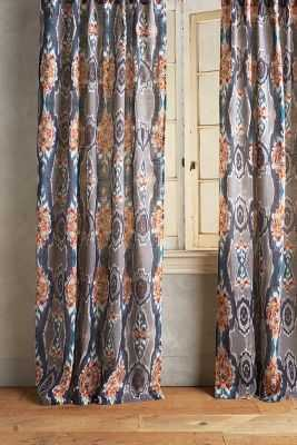 "Stretched Ikat Curtain - Multi - 50""W x 84""L - Anthropologie"