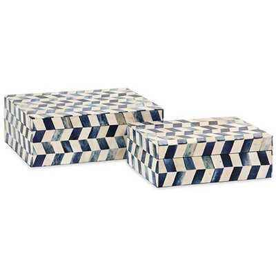 Essentials Marine Blue Bone Boxes, Set of 2 - High Fashion Home
