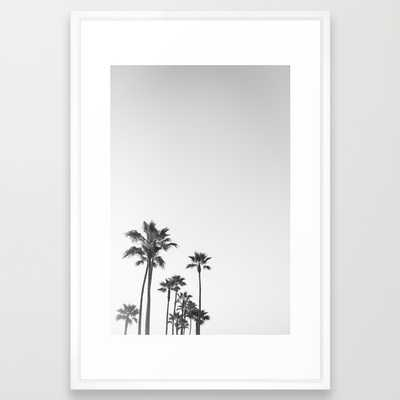 Black and White California Palms 26x38 framed - Society6