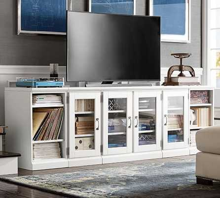 PRINTER'S GLASS DOOR & BOOKCASE TV STAND, LARGE, TUSCAN CHESTNUT STAIN - Pottery Barn