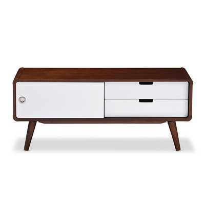 Baxton Studio Armani Mid-century Dark Walnut and White Two-tone Finish 2-drawer with Sliding Door Wo - Overstock