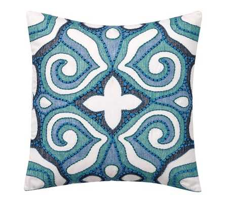 Athena Embroided Pillow Cover - Cool Multi - 20x20 - Insert Sold Separately - Pottery Barn