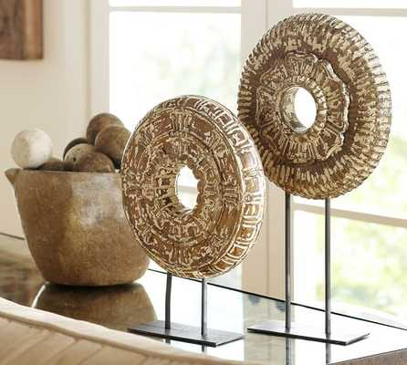 Round Carved Wood Medallions Stand - Small - Pottery Barn
