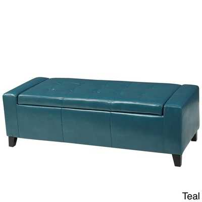 Guernsey Faux Leather Storage Ottoman Bench - Teal - Overstock