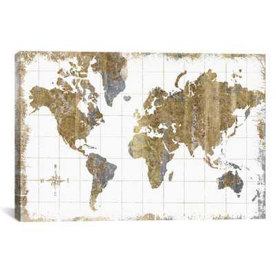 """Gilded Map - 18"""" H x 26"""" W x 1.5"""" D - Unframed - Wayfair"""