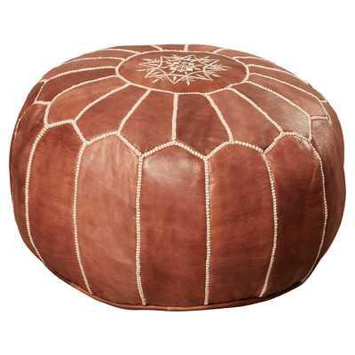 IJlst Leather Pouf Ottoman - Brown - Wayfair