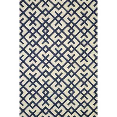 Hand-tufted Tatum Ivory/ Navy Wool Rug - Overstock