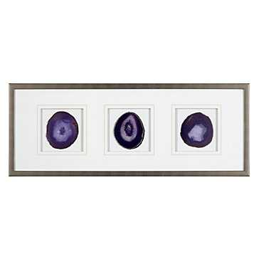 Agate Trio - Amethyst-34.25''W x 13.25''H-Pewter finish moulding frame - Z Gallerie
