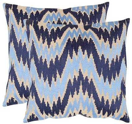 """LIAM FLAME STITCH PILLOWS - SET OF 2 - 18"""" x 18"""" - With Insert - Home Decorators"""