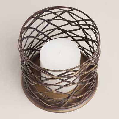 Woven Metal Brookyn Hurricane Candleholder-Medium - World Market/Cost Plus