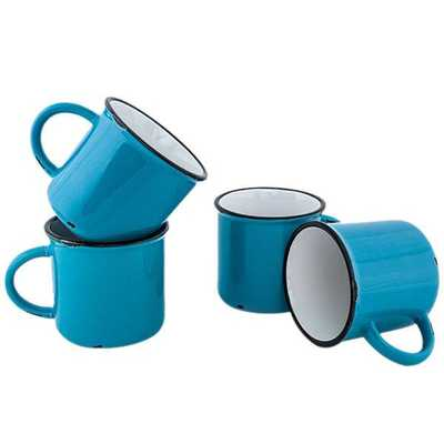 Tinware Ceramic Mugs, Set of 4 in Teal - Domino