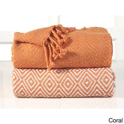 Diamond Weave Throw (Set of 2) - Coral - Overstock