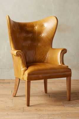 Premium Leather Wingback Chair - Lager - Anthropologie