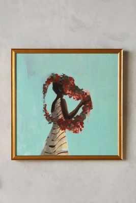 """Rose Queen Wall Art - 16"""" x 16"""" - Framed (Gold) - Anthropologie"""