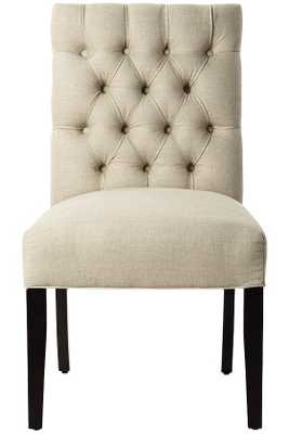 CUSTOM BUTTON-TUFTED SIDE CHAIR - Linen duck natural - Home Decorators
