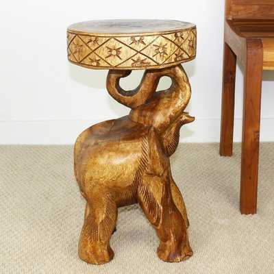 Hand-carved Walnut Oil Acacia Chang Stool - Overstock