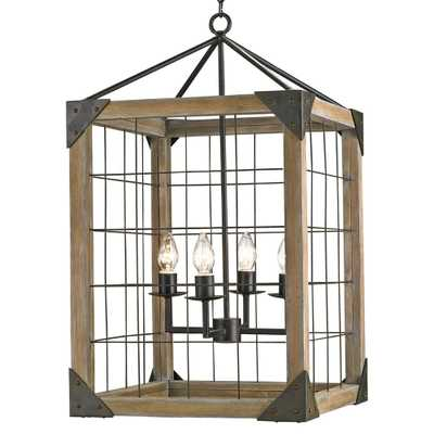 Foster Industrial Loft Square Wood Lantern Pendant Lamp - Kathy Kuo Home