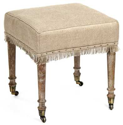 Alfreda French Country Square Burlap Limed Oak Stool Ottoman - Kathy Kuo Home
