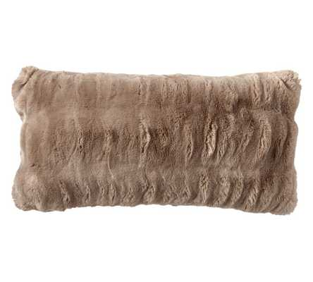 """AUX FUR RUCHED LUMBAR PILLOW COVER, 12 X 24"""", TAUPE - no insert - Pottery Barn"""