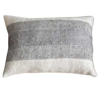 """Leon Down and Feather Filled Throw Pillow- 16 x 24 x 4"""", Grey, Multi, Off-White - Overstock"""
