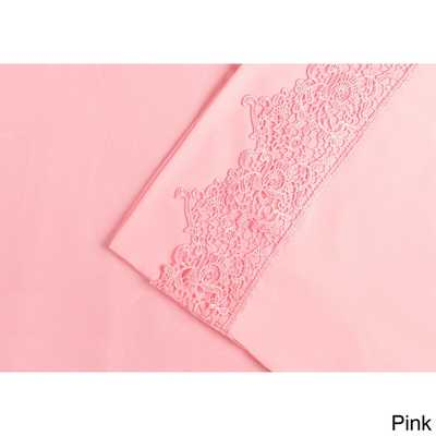 Wrinkle Resistant Embroidered Regal Lace Queen Sheet Set - Pink - Overstock
