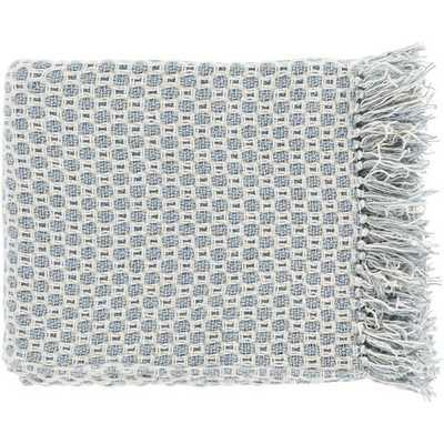 Trestle Cotton Throw Blanket - Blue - AllModern