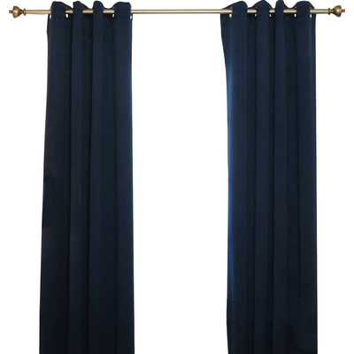 "Blackout Antique Brass Grommet Top Curtain Panel-Navy-74"" - Wayfair"