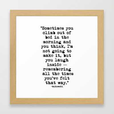 """Charles Bukowski Typewriter Quote Morning - 12"""" x 12"""" - Framed - Society6"""
