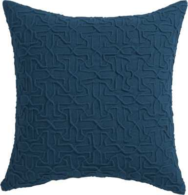 """Woolsley blue-green 18"""" pillow with down-alternative insert - CB2"""