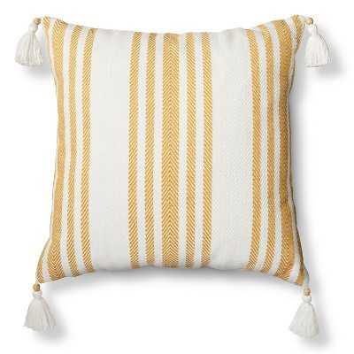 "Woven Stripe Throw Pillow - Sour Cream - 18"" x 18"" - Polyester fill - Target"