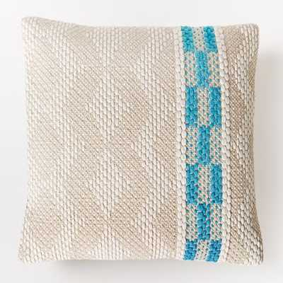 "Diamond Color Stripe Pillow Cover - Bright Turquoise - 20""sq - Insert sold separately - West Elm"
