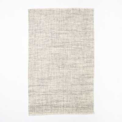 Mid-Century Heathered Basketweave Wool Rug - Steel - 5' x 8' - West Elm
