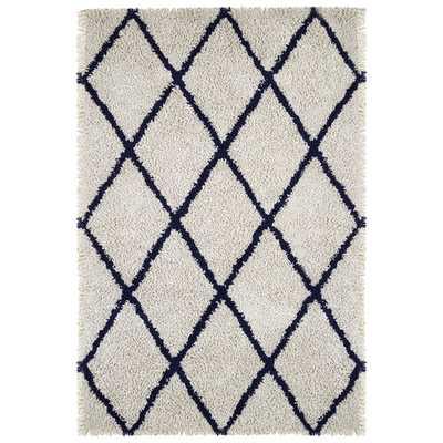 Hermiston Ivory/Navy Area Rug - Wayfair