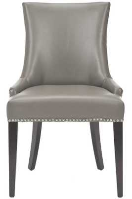 BECCA NAILHEAD DINING CHAIR - Grey Leather - Home Depot