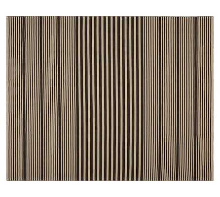 Kyle Stripe Hand-Loomed Rug - Black - Pottery Barn