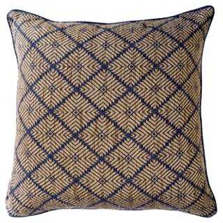 Phulkari Weave 22x22 Pillow, Navy- feather/down Insert - One Kings Lane
