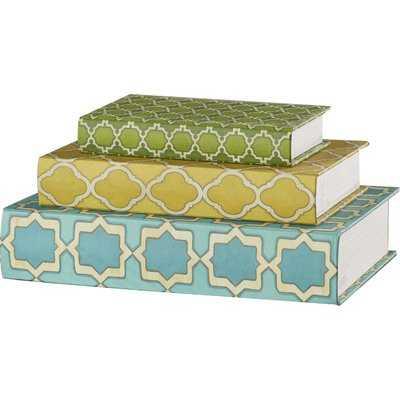 Hall 3 Piece Geometric Print Book Decorative Box Set - Wayfair