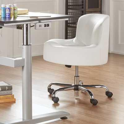 Bridgeport Ergonomic Contour Adjustable Swivel Modern Accent Chair with Casters - White - Overstock