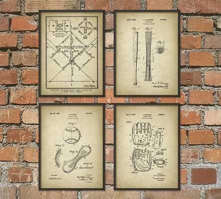Baseball Patent Wall Art Poster Set of 4 - Etsy